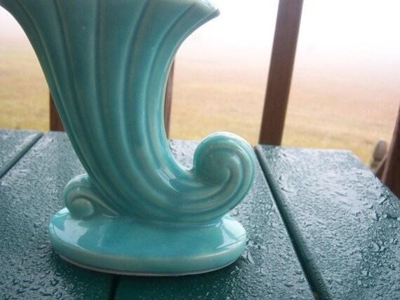 USA Marked Turquoise Cornucopia Vase Turquoise Flower Vase Collectible