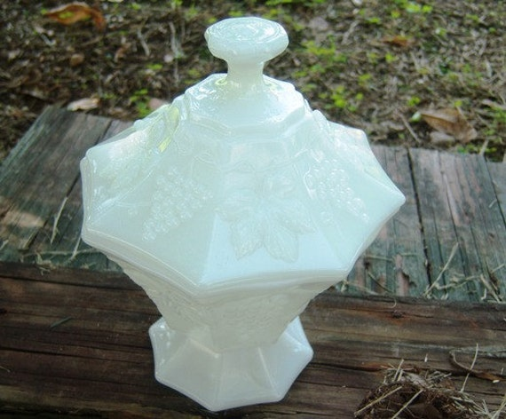 Vintage Milk Glass Covered Candy Dish, Grapevine Motif Home Decor New Orleans Vintage Shop Holiday Retro