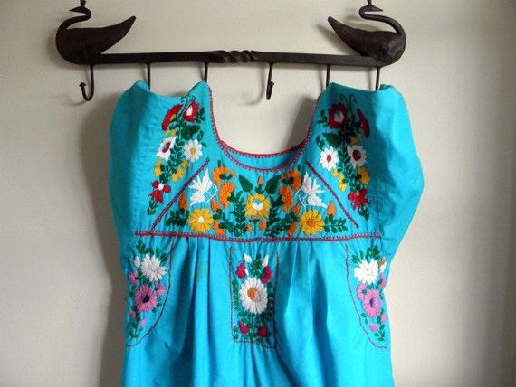 Vintage Aqua Native Embroidered Dress