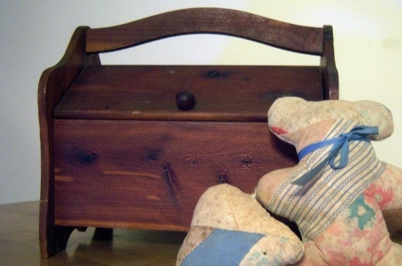 Vintage Cedar Sewing Box Plus Teddy Bear Reserve for Laurie