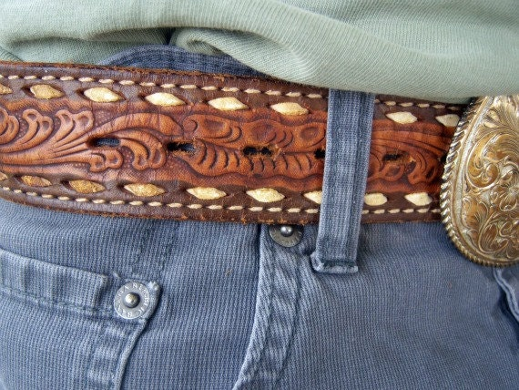 Vintage Hand Tooled, Buck Stitched Belt