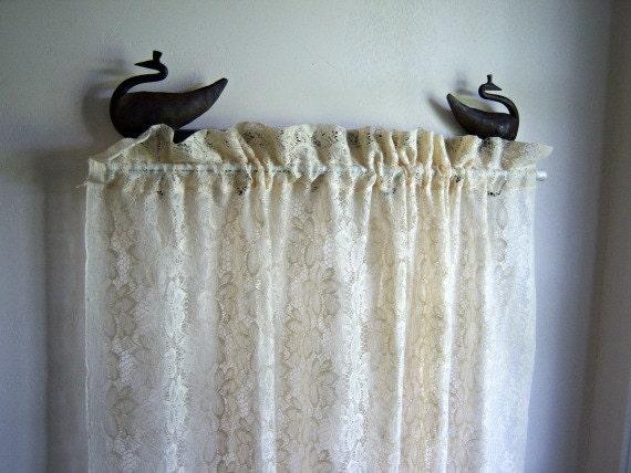Vintage Cream Lace Curtain  Panel (1)