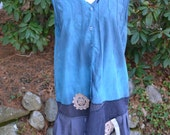Large/Extra Large/Hand-dyed/ Upcycled/ Cutt-off Sleeve Dress