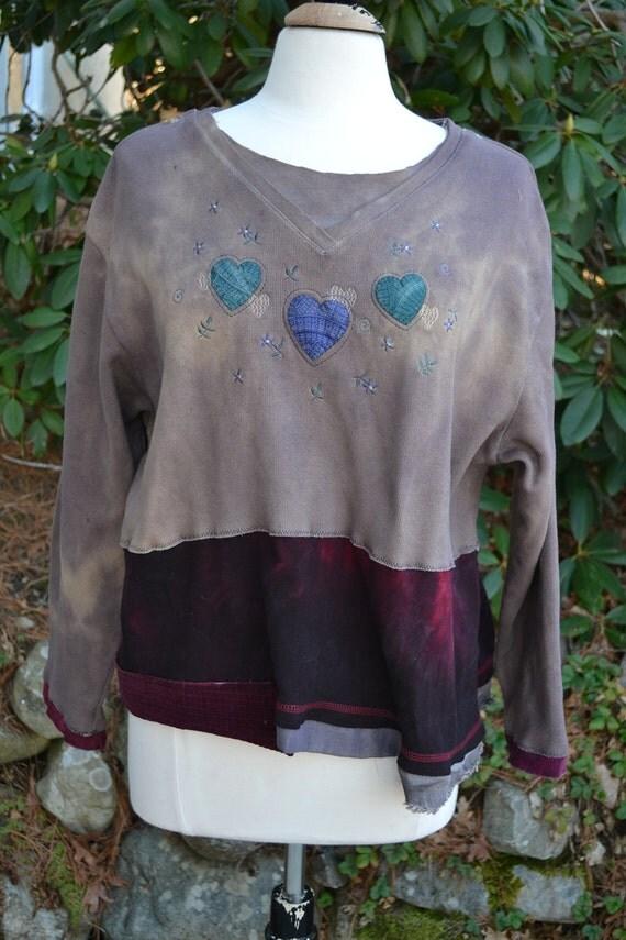 Plus size/Hand-dyed/ Upcycled/ Sweatshirt