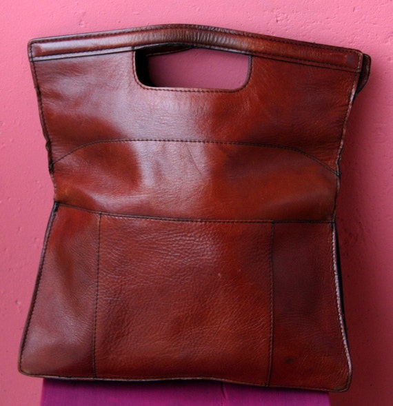 SALE /// Vintage Burgundy Leather Handbag Clutch