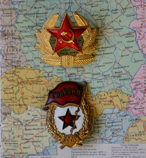 SALE /// Lot of 2 Soviet Red Star Military Hat Pin and Rare GVARDIA Enamel Award