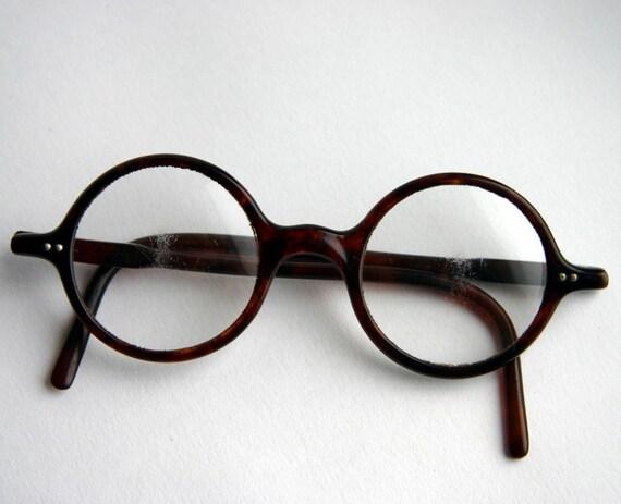 Antique Round Brown Lucite or Bakelite Art Deco Era Glasses 1930s