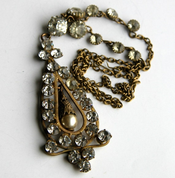 RESERVED Antique Clear Rhinestones Pearl and Brass Large Edwardian Necklace Pendant 1920s ...
