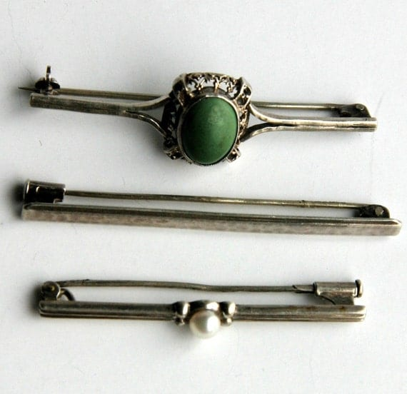 Lot of 3 Antique Sterling Silver Pearl and Natural Green Stone Victorian Edwardian Bar Brooches...
