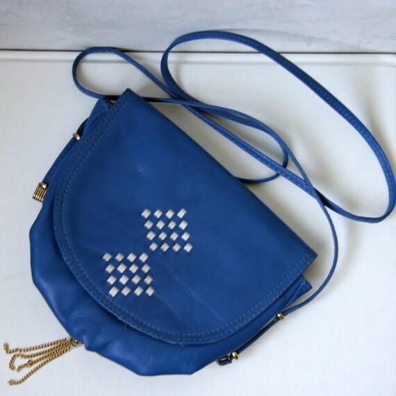 Vintage Blue Navy Leather Gold and White Ethnic Native Boho Crossbody Purse Saddle Bag
