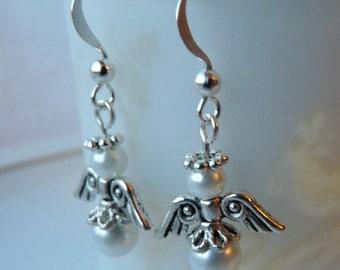 White Glass Pearl Guardian Angel Pierced Earrings