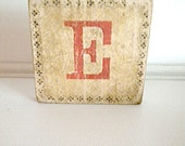 Wooden Brooch Repurposed Letter E  One of A Kind