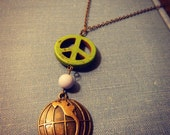 Peace Necklace Vintage Inspired One of A Kind