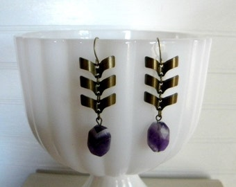 Chevron Earrings Amethyst  One of A Kind