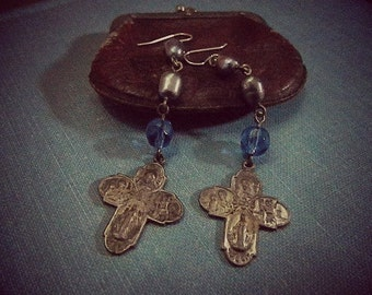 Cross Earrings Vintage  Repurposed  One of A Kind