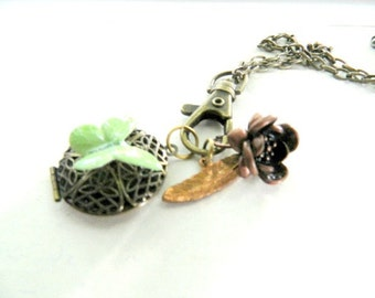 Charm Necklace Butterfly Locket Rose Feather One of a Kind