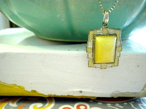 Art Deco Necklace Yellow Stone One of A Kind