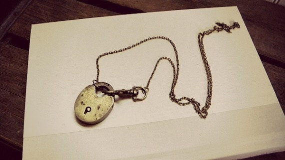 Lock Necklace Brass Vintage Repurposed  One of A Kind