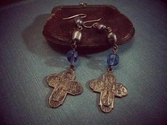 Cross Earrings Vintage  Repurposed  One of A Kind