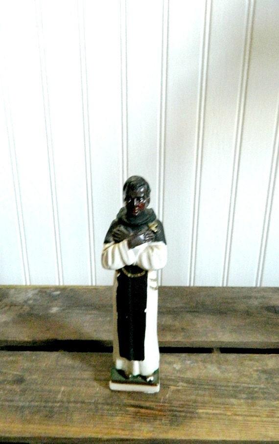 Vintage Saint Religious Statue St Martin de Porres