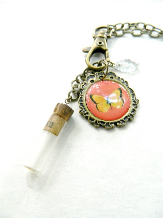 Charm Necklace Butterfly Watch Vial Feather One of a Kind