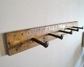 Reserved for Jacktractor RAILWAY Handmade Reclaimed Wood Spike Wall Hanging Hat Coat Rack