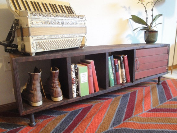 RESERVED FOR SUSAN Custom Handmade Reclaimed Redwood Bookcase Television Stand Shoe Rack