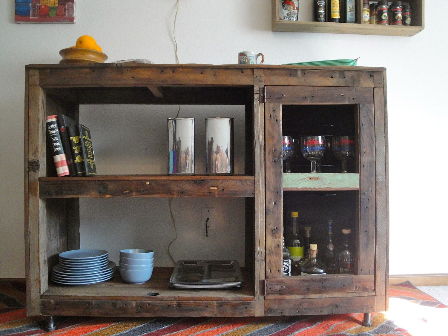 Reclaimed Wood Cabinets ~ Handmade reclaimed wood bookcase wine rack record cabinet
