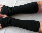 Black Jersey Fingerless Gloves, Black Arm Warmers, Texting Gloves, Driving Gloves, Cycling Glove, Hand Warmers, Biking Glove, Jersey Mitt