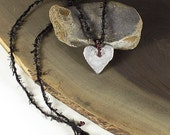 Heart Pendant with deep red Garnet Beads, hand-cast tin, with black leather pouch