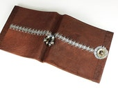 Leather Journal, handbound book in soft brown covers, with Pearls, Opal and gemstone beads
