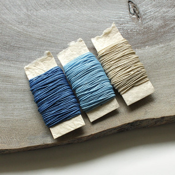 Waxed nylon cord - macrame string for jewelry or thread for leather work, 3 colors each 10 metres (33 feet), blue tones