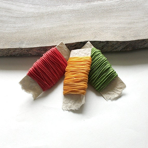 Waxed nylon cord - macrame string for jewelry or thread for leather work, 3 colors each 10 metres (11 yards), bright tones