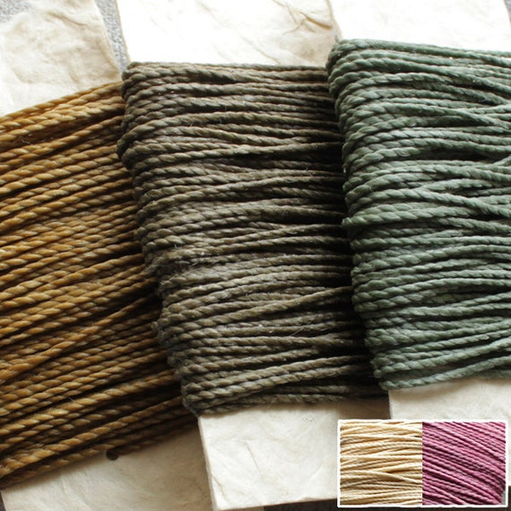 Reserved - Waxed nylon cord - macrame string, 5 colors each 10 metres (11 yards), woodland colors, natural and pink