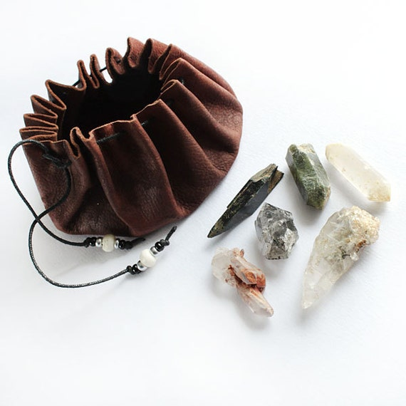 Crystal Healing Leather Pouch, shaman medicine bag style, with 6 high-vibration, unusual raw crystals