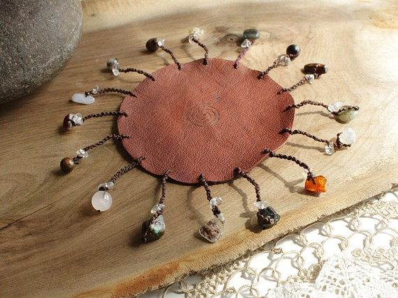 SpiritCarrier meditation wheel, original design with leather and crystals