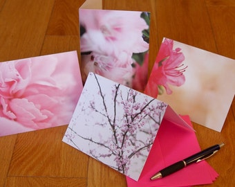 Blank Notecard Set - Four Pink Flowers - Great Gift