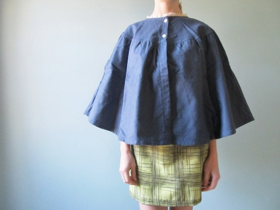 vintage flannel cape with lace collar