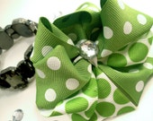 Girls Boutique Layered Hair Bow  - Sage Green Dizzy Dots Layered Bow - Sage Green, White, Dots, Spring