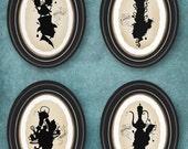 Tea silhouettes set of all 4 5x7 prints