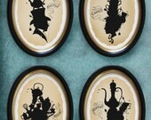 Tea silhouettes set of all 4 8.5x11 prints
