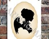 Vampire silhouette portrait Emmelina 5x7 print