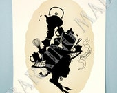 Oolong tea silhouette chinese whimsy art 5x7