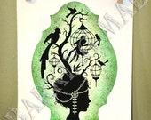 Birdcage Woman 2 silhouette 5x7 print