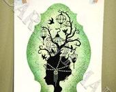 Birdcage Woman 1 silhouette 5x7 print