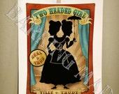 Circus of Silhouettes Two Headed Girl 8x10 print - dark carnival art