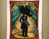 Circus of Silhouettes Elephant Man 8x10 print - dark carnival art