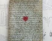 Glass Tray - Love Note - 4.5 x 6.5 - decoupage