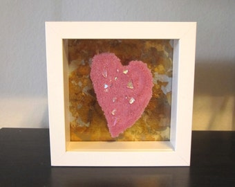 Pink and Multi Dichroic Valentine's Heart Glass Sculpture