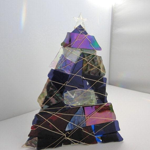 Glass Christmas Tree Votive - Purple